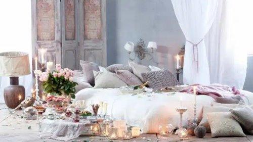 اجواء رومانسية في غرفة النوم